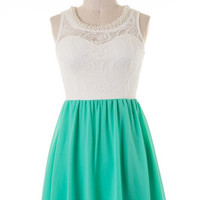 Great Expectations Dress with Necklace - Green