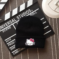 Hello Kitty Head Embroidered Patch Womens & Mens Beanie Wool Knitted High Quality Black Cuffed Skully Hat