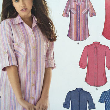 Ladies Button Up Shirt with Cuff Sleeves and Pockets New Look Sewing Pattern 0574 - Sizes 8 - 18