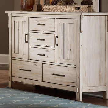 Distressed Wooden Dresser With 5 Drawers, Antique White