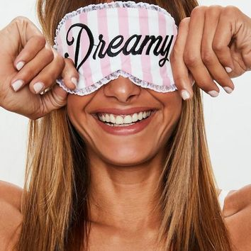 Missguided - Pink Dreamy Candy Stripe Satin Eye Mask