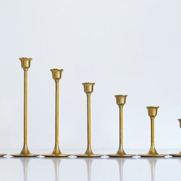 Vintage Brass Candlesticks Danish Modern Candle Holders Set of 7 Graduated Brass Candlesticks Christmas Decoration