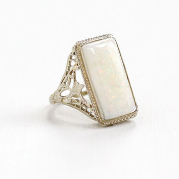 Antique 14K White Gold Large Opal Filigree Ring- Vintage Size 2 Early 1900s Art Deco Fine Gemstone Jewelry