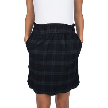 Scallop Plaid Flannel Skirt in Navy by Lauren James - FINAL SALE