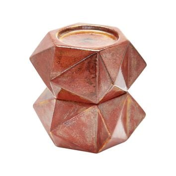 Large Ceramic Star Candle Holders In Russet - Set of 2 Russet Bronze