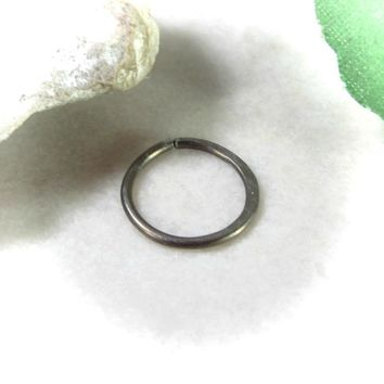 Nose Ring Niobium Endless Bronze Hammered