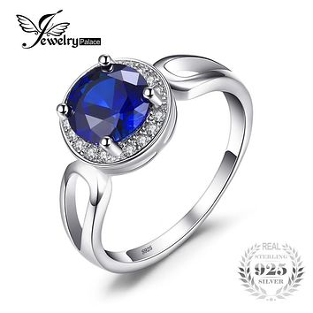 JewelryPalace Round 2.2ct Created Blue Sapphire Engagement Halo Ring Solid 925 Sterling Silver Rings For Women 2017 Fine Jewelry