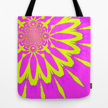 Handmade Tote Bag, Pink & Yellow Modern Flower Bag, Pink Bag, Durable Tote Bag, Floral Tote Bag, Modern Flower Series