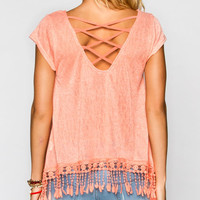 Mine Lattice Back Womens Fringe Top Orange  In Sizes