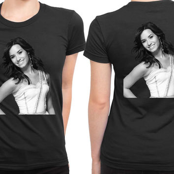 Demi Lovato Grayscale Photo 2 Sided Womens T Shirt
