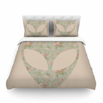 """Alias """"Floral Alien"""" Pink Teal Featherweight Duvet Cover"""