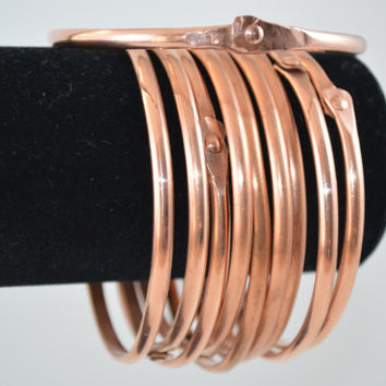 Ten 10 Copper Stacking Bangle, Stacking Bangle,Unisex Bangle,Polished Bangle,Half Round Copper, Waxed Bangle, Unisex Jewelry, Copper Jewelry