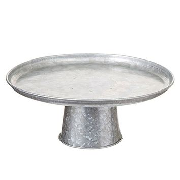"Farmhouse Galvanized Metal Cake Stand - 5"" Tall x 12"" Wide"