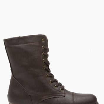 Brown Faux Leather Lace Up Combat Boots @ Cicihot Boots Catalog:women's winter boots,leather thigh high boots,black platform knee high boots,over the knee boots,Go Go boots,cowgirl boots,gladiator boots,womens dress boots,skirt boots.