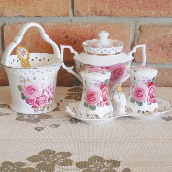 Royal Bone China 'English Collection' rose floral cruet set with sugar bowl, jam pot, salt and pepper set and spoon