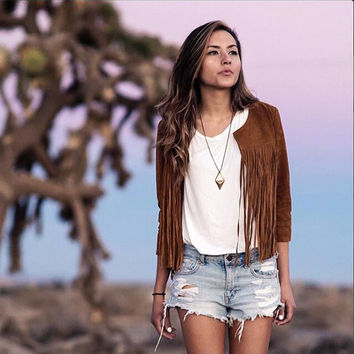 Trendy Women Lady Punk Biker Tassels Fringed Jacket Coat Tops Spring Autumn Solid Blouse Y2