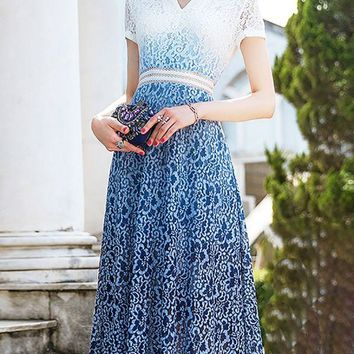 V neck Blue Midi Dress A-line Date Dress Short Sleeve Casual Lace Guipure lace Prom Dresses