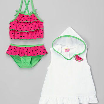 Sol Swim Pink Watermelon Tankini & Hooded Cover-Up - Infant & Toddler | zulily
