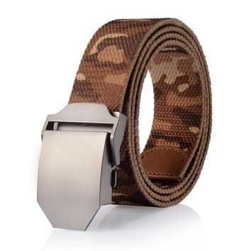Hot Personality automatically male Canvas belt High quality Tactical  Military Straps Camouflage man belts Men