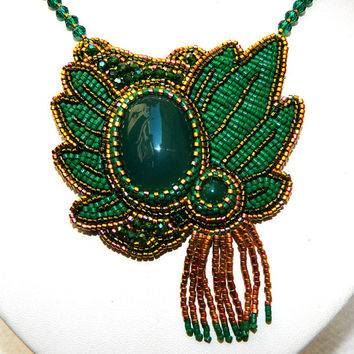 Green and gold ooak bead embroidered necklace with natural agate gemstones, Miyuki seed beads and sparkling crystals