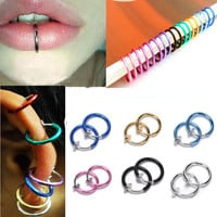 New 2pcs Fake Stud Earrings Nose Lip Rings Hoop Ear Punk Clip On Piercing Body #