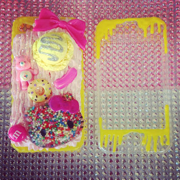 Pink and yellow hundreds and thousands kitty deco iphone 4/4s case