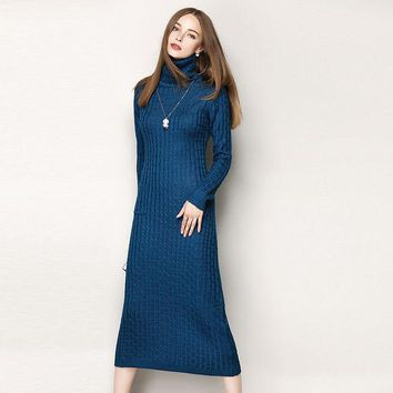 New 2016 Autumn Winter Sexy Fashion Women Turtleneck Long Sleeve Dress Sheath Knitted Pullovers Casual Warm Dresses Blue