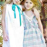 Girls White & tourquoise leaf pattern embroidered Spring Summer Dress