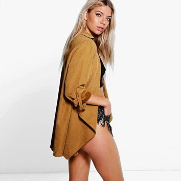 Women Trench Coat Three Quarter Sleeve Turn Down Collar Casual Outwears Solid Camel Loose Elegant Basic Female Coats