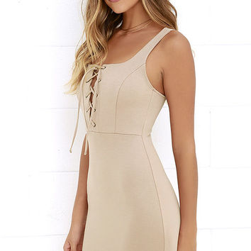 Quite Curious Beige Lace-Up Dress