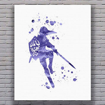 Legend of Zelda Watercolor Art Print Instant Download
