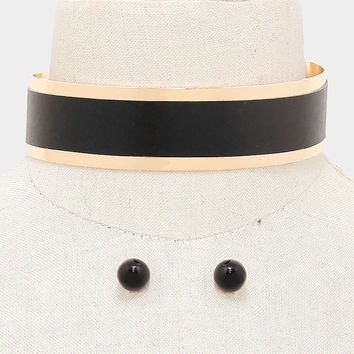 "12.50"" gold black faux leather choker collar band necklace .50"" earrings 1.25"" wide"