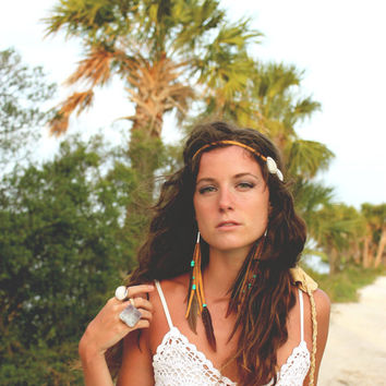 Wanderlust - Long Feather and Leather Earrings, Cruelty-Free