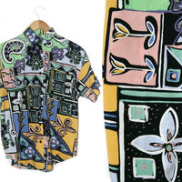 Vintage Floral Shirt~Size Small/Medium/Large~80s 90s Pink Blue Green Yellow White Black Tribal Print Unisex Button Up~By Gitano