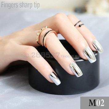 24 pcs Personality New metal fake nail Silver Punk Solid color metal wind long metal  False Nails Full Artificial Nails M02