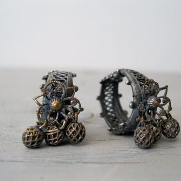 Unique Vintage Clip On Earrings - Tribal Jewelry Findings - Vintage Jewelry Earrings