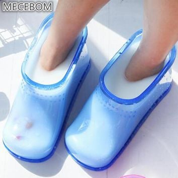 Mecebom Winter Home Rubber Flat Heel Wedge Platform Foot Bath Massage Beads Shoes Warm Ankle Boot Moccasin Zapatos Mujer PJ1W