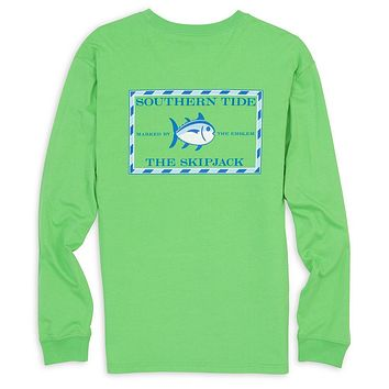 Long Sleeve Original Skipjack Tee in Jasmine Green by Southern Tide