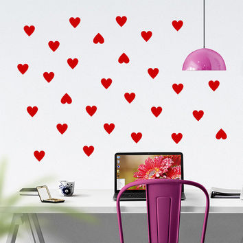 Mini Hearts Vinyl Wall Words Decal Sticker Graphic