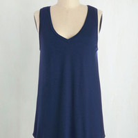 Minimal Long Sleeveless Endless Possibilities Top in Navy