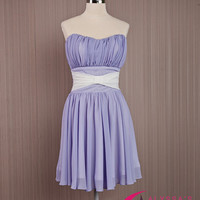 Purple Short Ribbon Front Dress/Strapless Bustier Prom Dress/Homecoming Purple Dress/Sweat Sixteen Party Dress/Cocktail Knee Length Dress