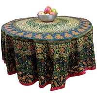 """Handmade 100% Cotton Elephant Mandala Floral 81"""" Round Tablecloth Green Red"""