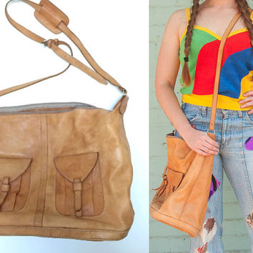 Large Vintage Caramel Leather Messenger Bag | Soft Distressed Genuine Leather Boho Hippie Handbag | Bohemian Hobo Bag | Large Leather Purse