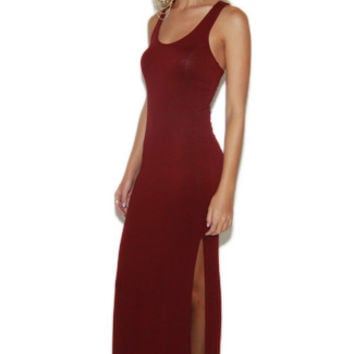Double Slit Tank Dress in Wine