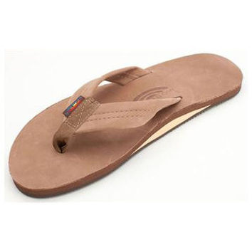 Men's Single Layer Premier Leather Flip Flop with Arch Support