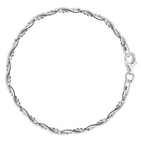 Braided Bead And Snake Style Chain Anklet In Sterling Silver (9, 10 And 11 Inches Lenght)
