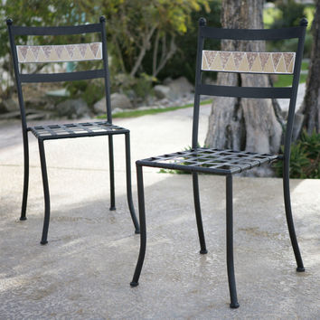Set of 2 - Outdoor Patio Garden Wrought Iron Bistro Chairs in Black