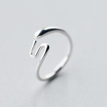 925 sterling silver snake open ring ALQ-J2561