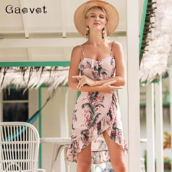 Gaovot 2018 Summer Women Irregular Boho Dresses Leaf Printed Spaghetti Strap Backless Ruffles Split Sexy Dress Vestidos S-XL
