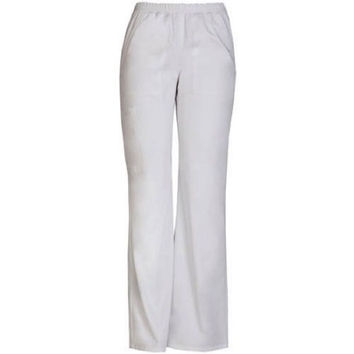 ScrubStar Women's Elastic Waist Pull On Scrub Pant, Small, White, 90010